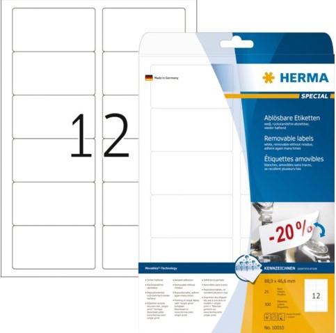 Etiket Herma 10010 88.9x46.6mm afneembaar wit 300stuks