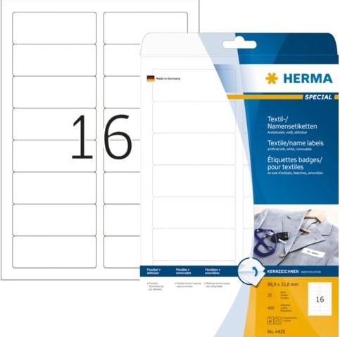 Badge Herma 4420 etiket bedrukbaar 88.9x33.8mm 400stuks wit