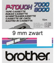 Labeltape Brother P-touch TX221 9mm zwart op wit