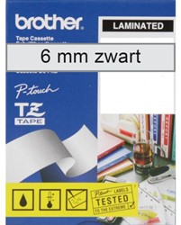 Labeltape Brother P-touch TZE111 6mm zwart op transparant