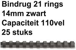 Bindrug Fellowes 14mm 21rings A4 zwart 25 stuks