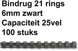 Bindrug Fellowes 6mm 21rings A4 zwart 100stuks