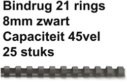 Bindrug Fellowes 8mm 21rings A4 zwart 25stuks