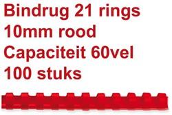 Bindrug GBC 10mm 21rings A4 rood 100stuks