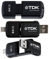 USB-stick 2.0 TDK micro flash drive 2-in-1 64Gb zwart