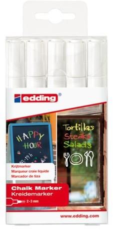 Krijtstift edding 4095 rond wit 2-3mm etui à 5st