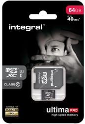 Geheugenkaart Integral Micro SDXC class10 +adapter 64GB