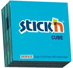 MEMOKUBUS STICK'N 51X51MM NEON/PASTEL BLAUW