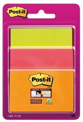 Memoblok 3M Post-it 3432-SS30 Super Sticky 76x76mm assorti