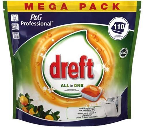 Vaatwastabletten Dreft all-in-1 Fresh orange 110 stuks