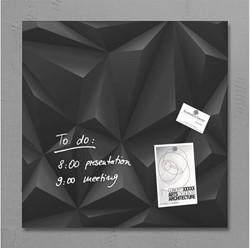 Glasbord Sigel magnetisch 480x480x15mm black diamond