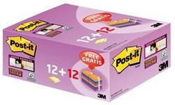 Memoblok 3M post-it 622-S+12B super sticky 47.6x47.6mm geel