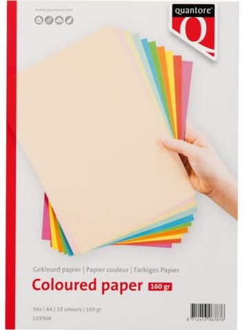 Gekleurd papier Quantore A4 160gr 10 kleuren 50vel