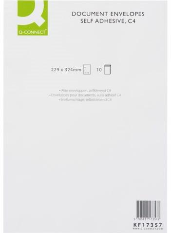 Envelop Q-Connect akte C4 229X324 120gr zelfklevend wit