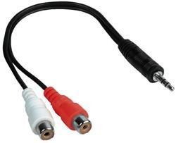 Kabel Hama Jack 3,5mm 2x RCA socket 0,15m zwart