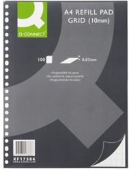 Ringbandblok Q-Connect A4 23r ruit 10mm 70gr
