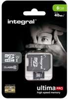 Geheugenkaart Integral Micro SDHC class10 +adapter 8GB