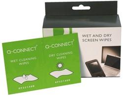 Reiniger Q-Connect beeldscherm doekjes nat/droog 20stuks