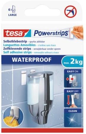 Dubbelzijdige powerstrip tesa waterproof 2kg 6stuks blister
