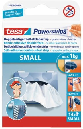 Dubbelzijdige powerstrip tesa mini 1kg 14stuks blister