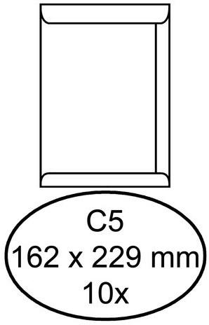 Envelop Hermes akte C5 162x229mm wit 10stuks