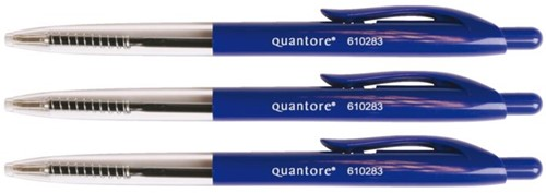 Balpen Quantore Stick drukknop blauw medium