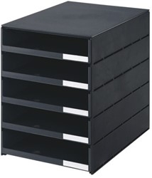 Ladenbox Styroval 5 laden zwart open